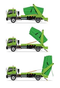 Garbage lugger truck dumping