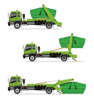 Garbage lugger truck loading