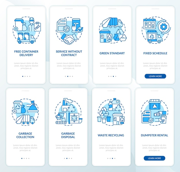 Garbage management service blue onboarding mobile app page screen set. recycling walkthrough 4 steps graphic instructions with concepts. ui, ux, gui vector template with linear color illustrations