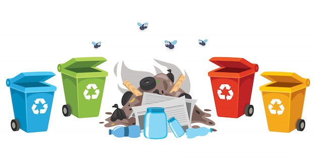 Garbage and recycle bins for plastic, metal, paper and glass