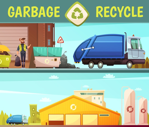 Garbage recycling green  eco friendly service symbol and processing facilities 2 cartoon style banne