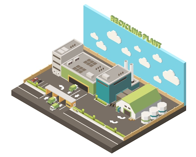 Garbage recycling isolated composition recycling plant headline and warehouse on piece of earth  illustration