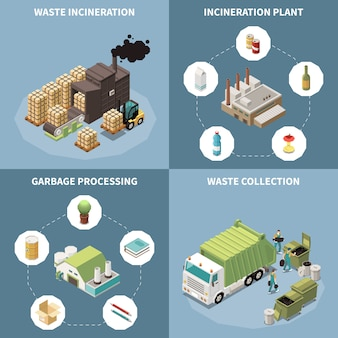 Garbage recycling isometric icon set with waste incineration garbage processing and waste collection descriptions  illustration
