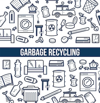 Garbage recycling promotional poster with sketch illustrations set