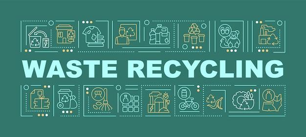 쓰레기 재활용 단어 개념 배너입니다. 환경 보전. 녹색 배경에 선형 아이콘으로 인포 그래픽입니다. 고립 된 창조적 인 인쇄술. 텍스트와 벡터 개요 컬러 일러스트