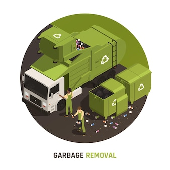 Garbage removal round illustration with people in uniform loading litter into truck