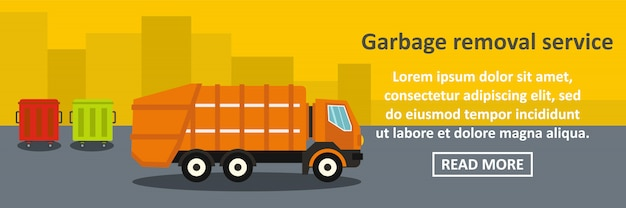 Garbage removal service banner horizontal concept
