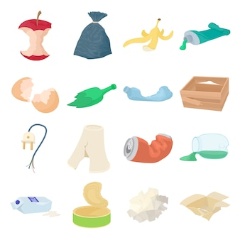 Garbage set icons in isometric 3d style isolated