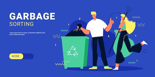 Garbage sorting banner flat illustration