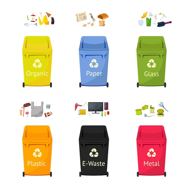 Garbage sorting bins flat illustrations set, waste recycling isolated cliparts pack on white background. trash bins for plastic, glass, paper materials reuse cartoon design elements