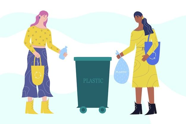 Концепция сортировки мусора. молодые женщины выбрасывают пластик в мусорное ведро.