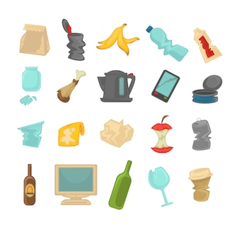 Garbage sorting food waste, glass, metal and paper