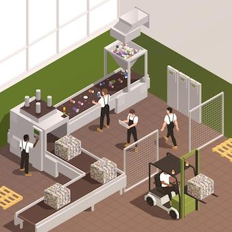 재활용 공장 3d의 컨베이어에서 작업하는 직원과 함께 아이소메트릭 쓰레기 분류