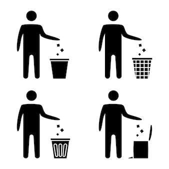 쓰레기 기호입니다. 휴지통 아이콘입니다. 일회용 아이콘입니다. 깔끔한 남자 기호, 쓰레기를 버리지 말고, 아이콘을 깨끗하게 유지하십시오. 남자는 쓰레기통에 쓰레기를 버립니다. 휴지통 벡터 아이콘, 재사용 기호입니다. 벡터 일러스트 레이 션