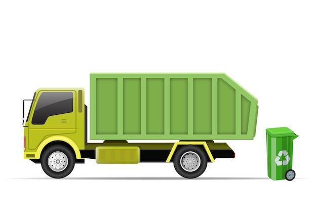 쓰레기 트럭과 쓰레기통. 흰색 절연