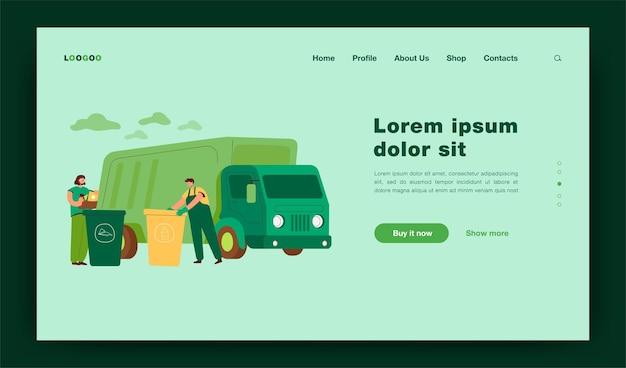 쓰레기와 쓰레기가 있는 처리 용기를 가져오기 위해 도착하는 쓰레기 트럭. 쓰레기통과 쓰레기통에 쓰레기와 쓰레기를 분류하는 남자. 재활용, 환경 개념 방문 페이지에 대한 그림