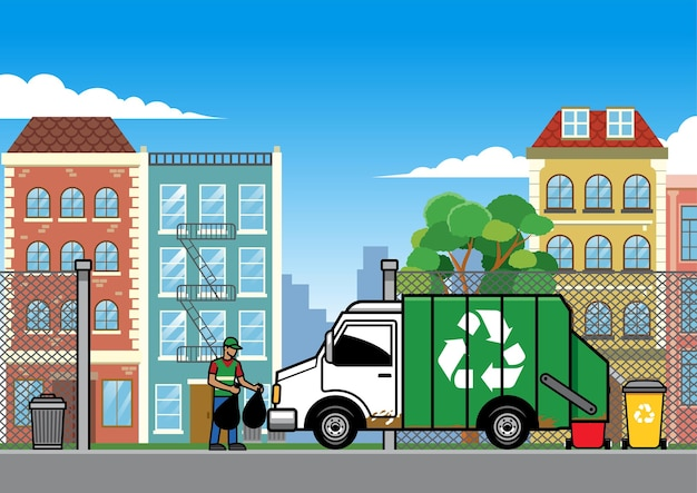 Garbage truck in the city
