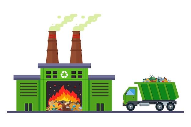 쓰레기 트럭은 소각 공장에서 폐기물을 소각하러 갑니다.