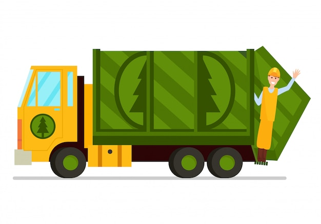 Garbage truck and sanitation worker illustration