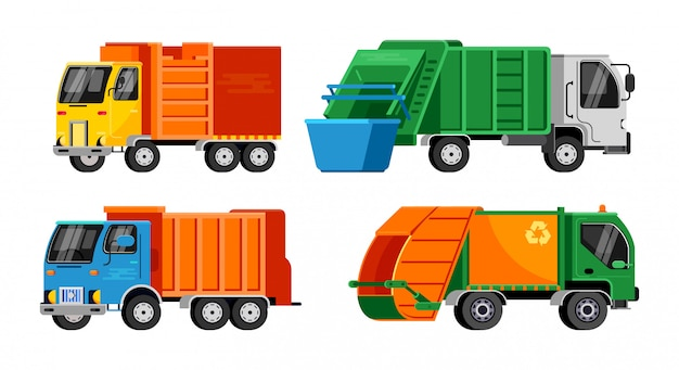 Garbage truck vector trash vehicle