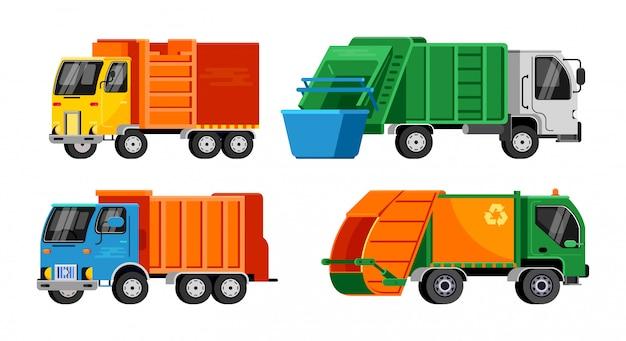 쓰레기 트럭 벡터 쓰레기 차량