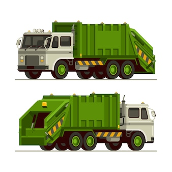Garbage truck waste vehicle front and back view in flat style