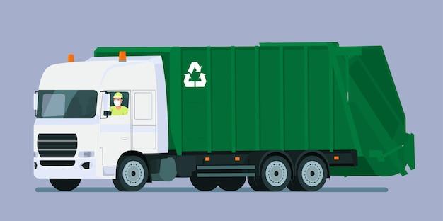 의료 마스크 드라이버와 쓰레기 트럭