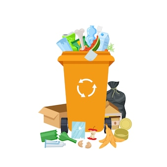 Garbage waste. overflowing trash can, dirty rubbish bin. recyclable mixed junk container. different litter and dustbin vector illustration. waste and garbage, trash container, overflowing rubbish bin