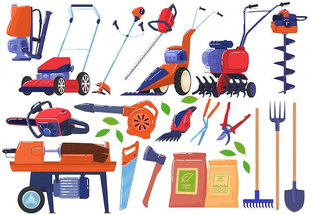 정원 및 농장 도구, 흰색 그림에 악기 아이콘 모음.