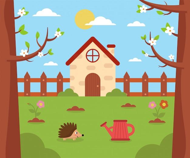 Сад и природа весной. мультфильм дом на улице.