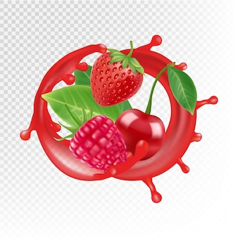 庭と野生の果実。現実的なジュースのスプラッシュ、ラズベリー、イチゴ、透明な背景に分離されたチェリー