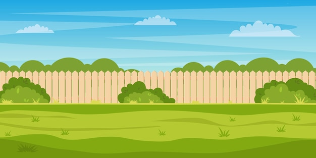 Garden backyard with wooden fence hedge, green trees and bushes, grass , park plants.