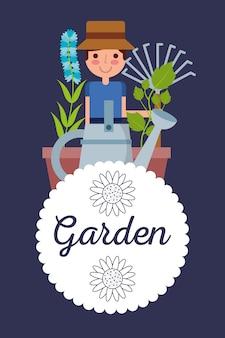 Garden badge gardener man plant flower rake tool