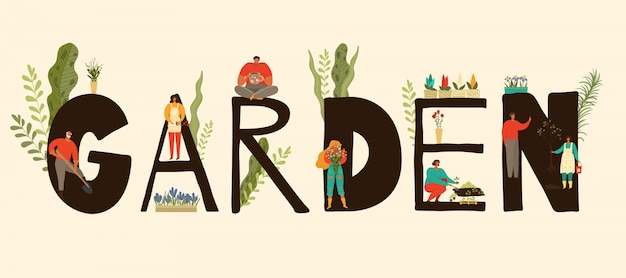 Garden banner with people characters gardening, growing and caring for plants, gardeners    illustration.