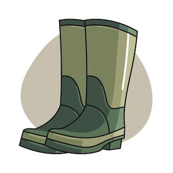 Garden boot cartoon illustration