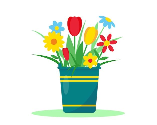 白い背景の花と庭のバケツ。春または夏のガーデニングの概念。