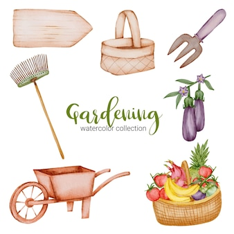 Carrello da giardino, insegna in legno, acquerello, cestino, forchetta, frutta e verdura di oggetti da giardinaggio in stile acquerello sul tema del giardino.
