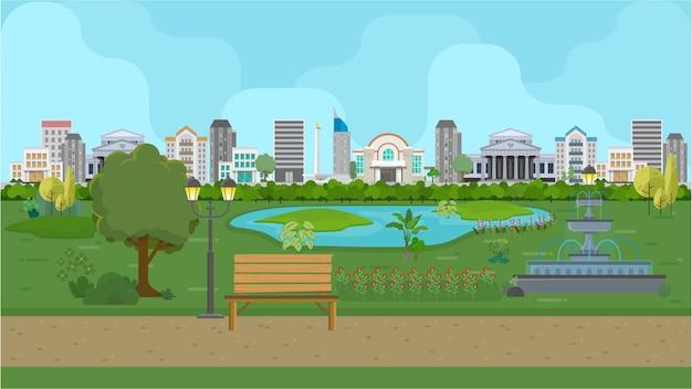 ガーデンシティ背景ベクトル