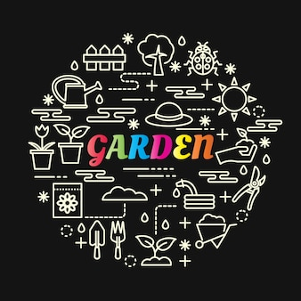 Garden colorful gradient with line icons set