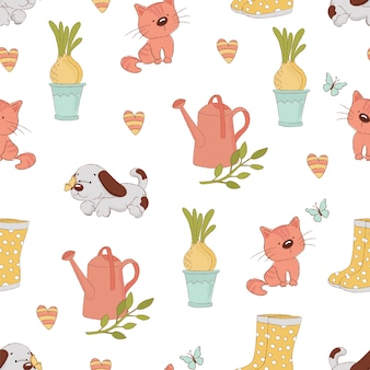 Garden craft春のシームレスパターン