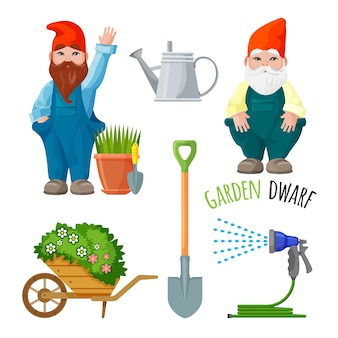 Garden dwarf, working tools for gardening