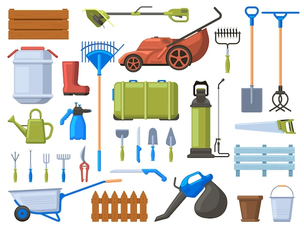정원 장비. 농업 원예 작업 도구, 잔디 깎는 기계, 삽, 급수 장비 및 갈퀴. 원예 도구 세트. 잔디 깎는 기계 및 수레, 장비 원예