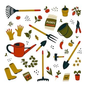 ガーデン機器セット。ガーデニングのためのさまざまな種類のツール。白い背景の上の漫画のスタイルの図