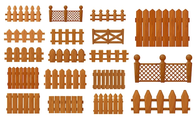 Garden and farm cartoon wooden fence, vector set