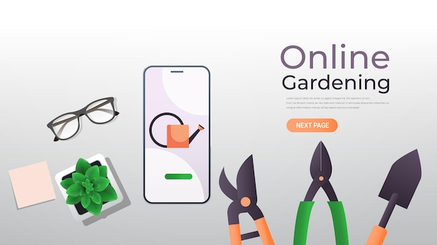 Garden and farm tools on smartphone screen eco smart farming management online gardening concept horizontal copy space illustration