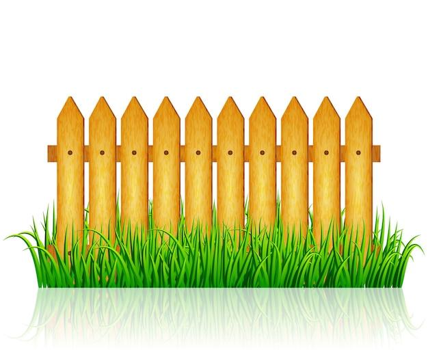 Garden fence with green grass vector