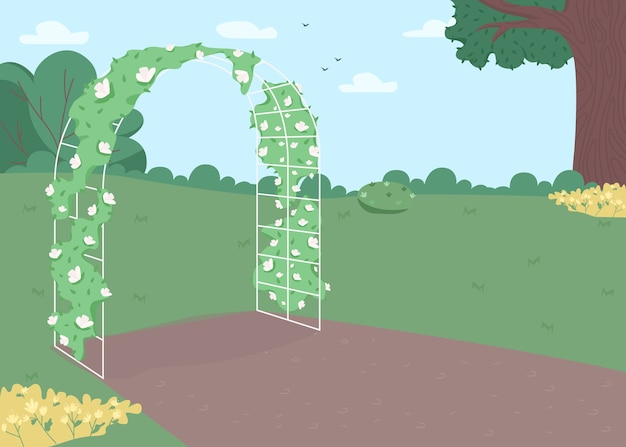 Garden floral arch flat color illustration