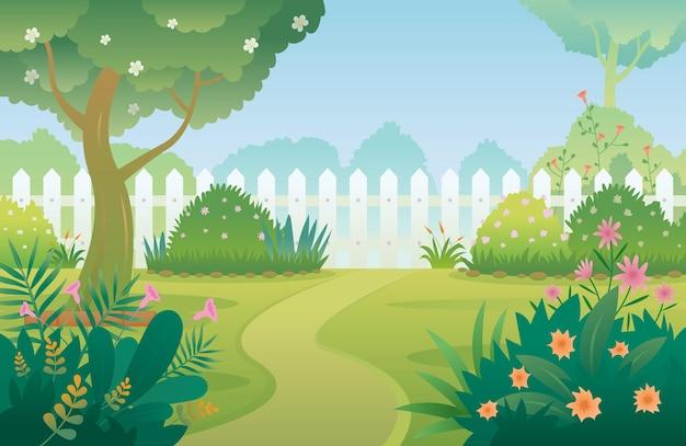 Сад, цветущие растения и декоративные растения фон
