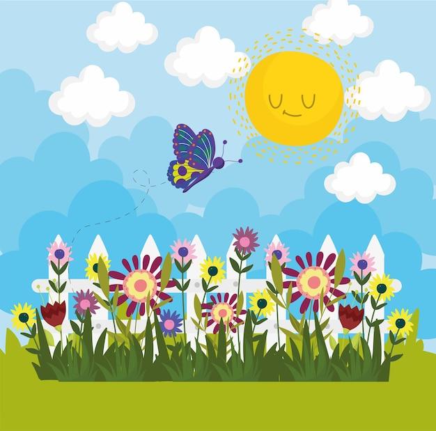 정원 꽃과 나비