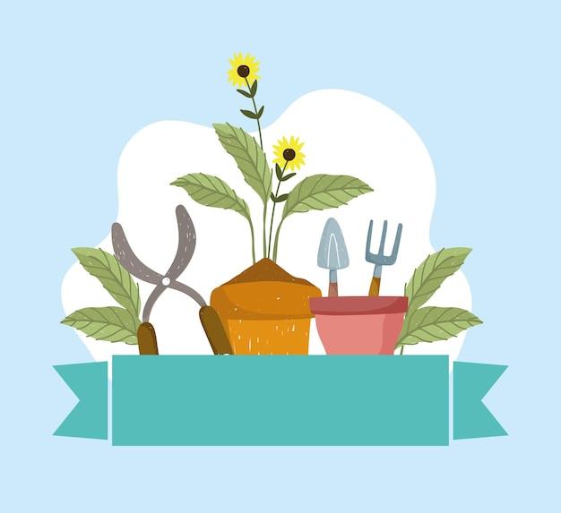 정원 꽃과 장비